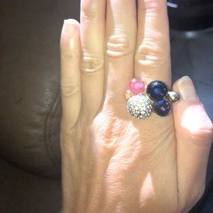 BCBG gold multicolor bauble ring